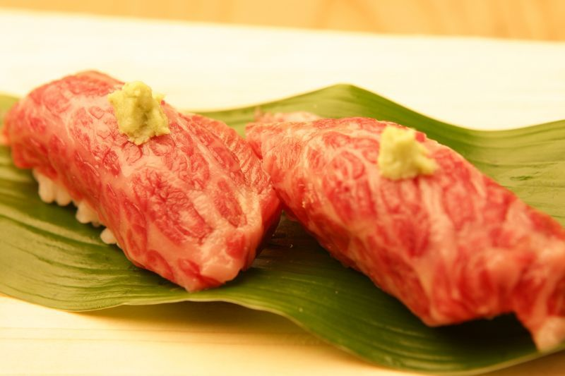 "Nigiri Sushi of fatty marbled Matsusaka beef at ""Sushi-man"""