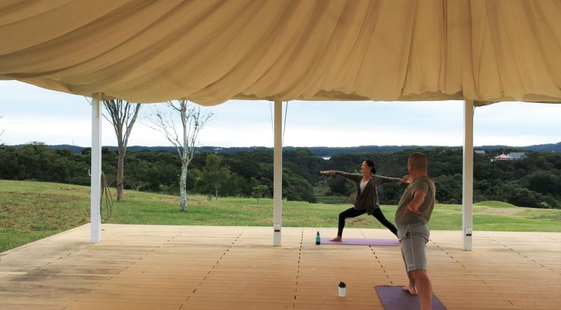 Doing Yoga in a natural setting, at a beautiful resort, with an amazing teacher.
